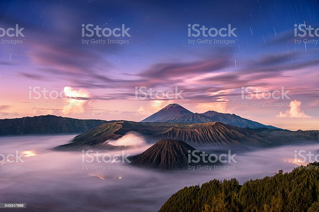 Fallen stars with wonderful sky at sunrise over Mount. Bromo stock photo