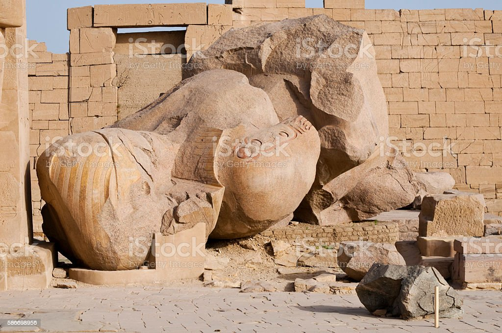 Fallen statue at the Ramesseum in Luxor, Egypt stock photo