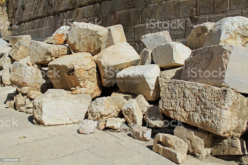 Fallen Stones Outside the Temple Mount stock photo