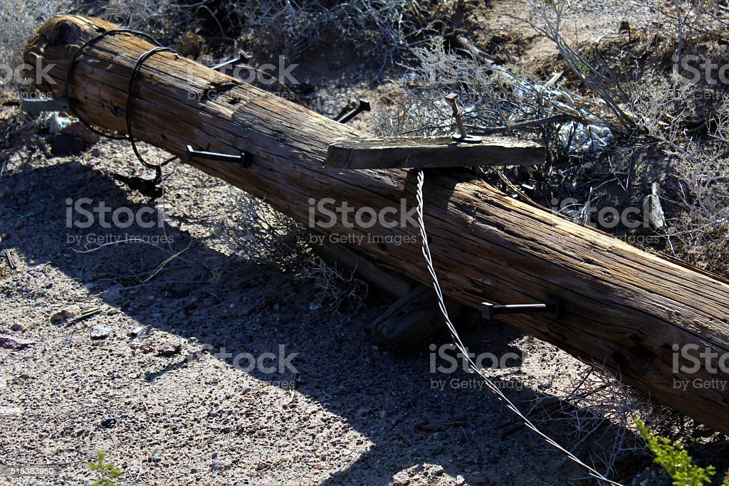 Fallen Telephone Pole stock photo