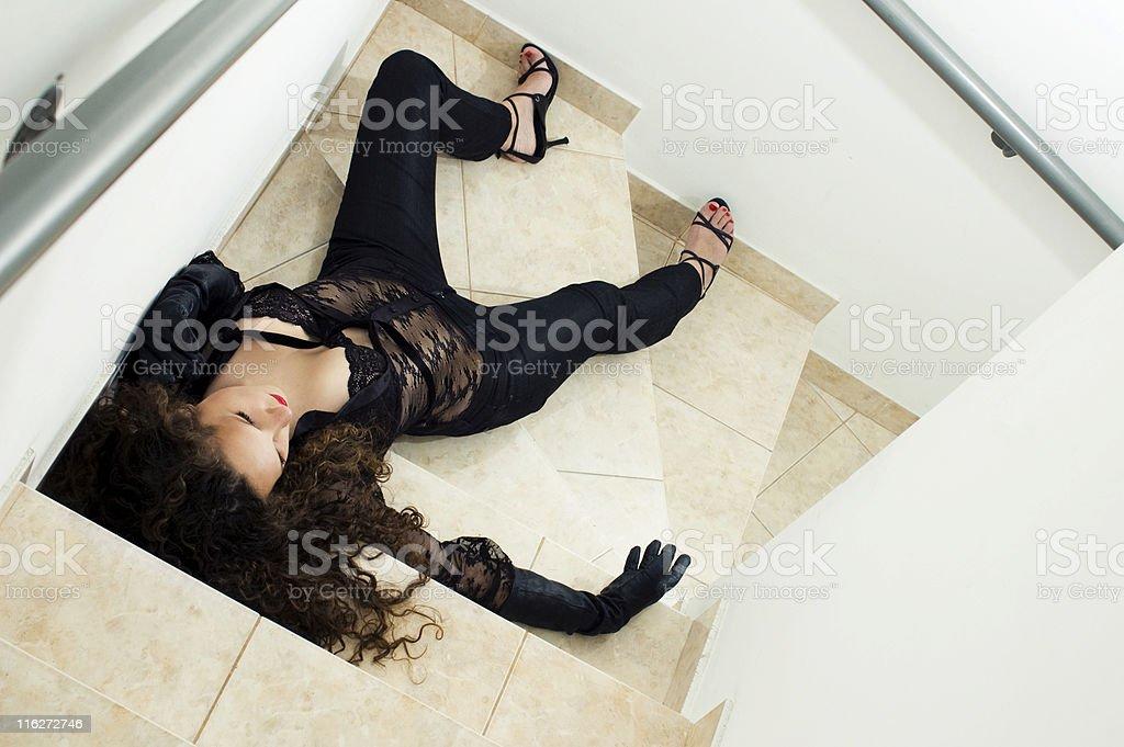 fallen woman stock photo