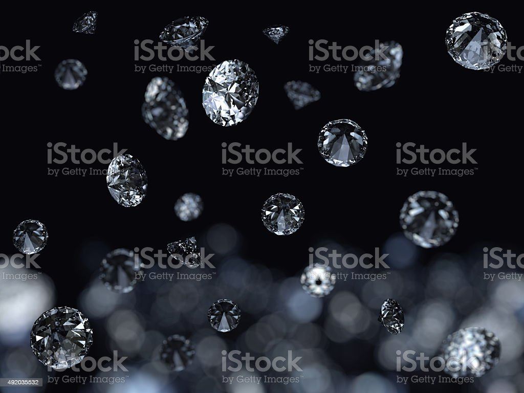 Fallign diamonds background stock photo