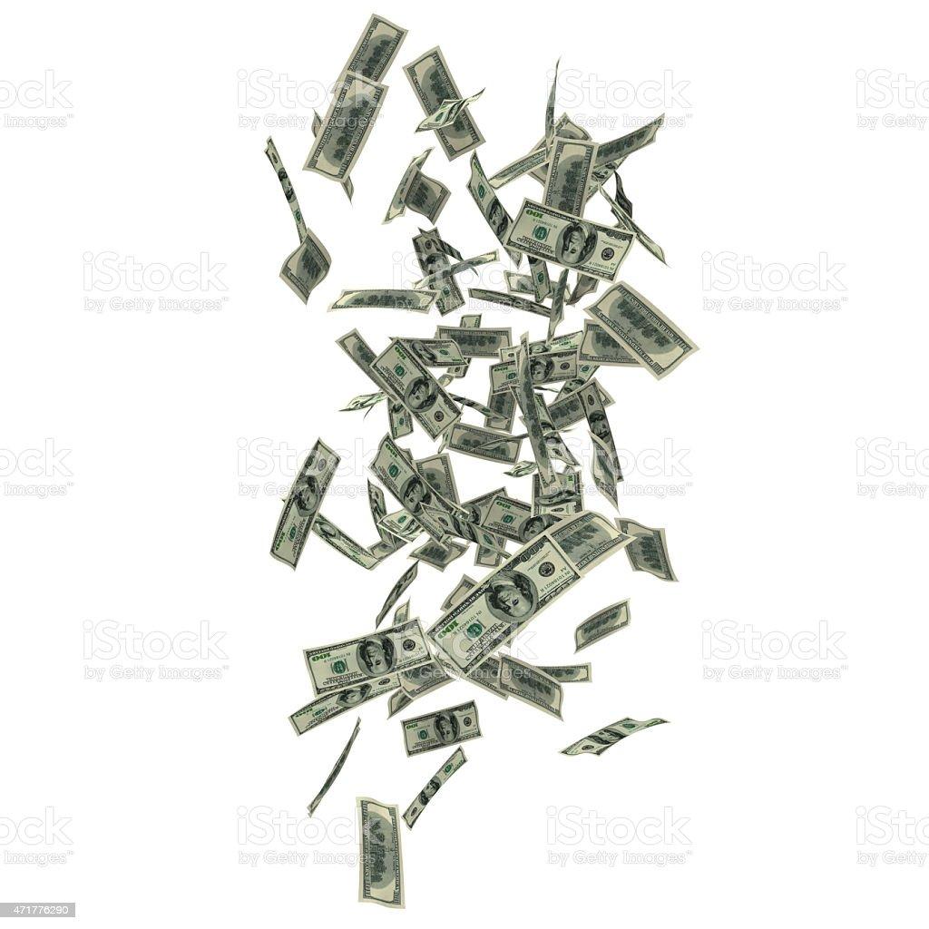 Falling 100 dollars stock photo