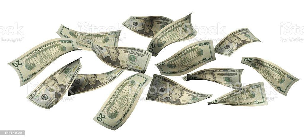 Falling 20 Dollar Bills royalty-free stock photo