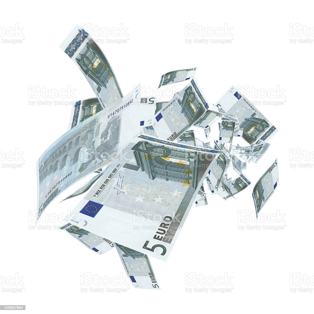 Falling 5 Euro Banknotes - Clipping Path stock photo