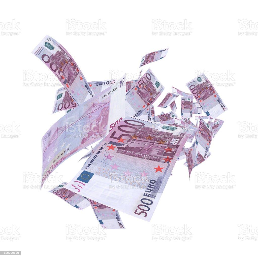 Falling 500 Euro Banknotes - Clipping Path stock photo