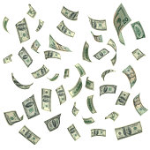 Falling American Currency on White Background