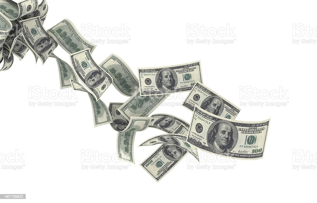 Falling American Currency on White Background stock photo