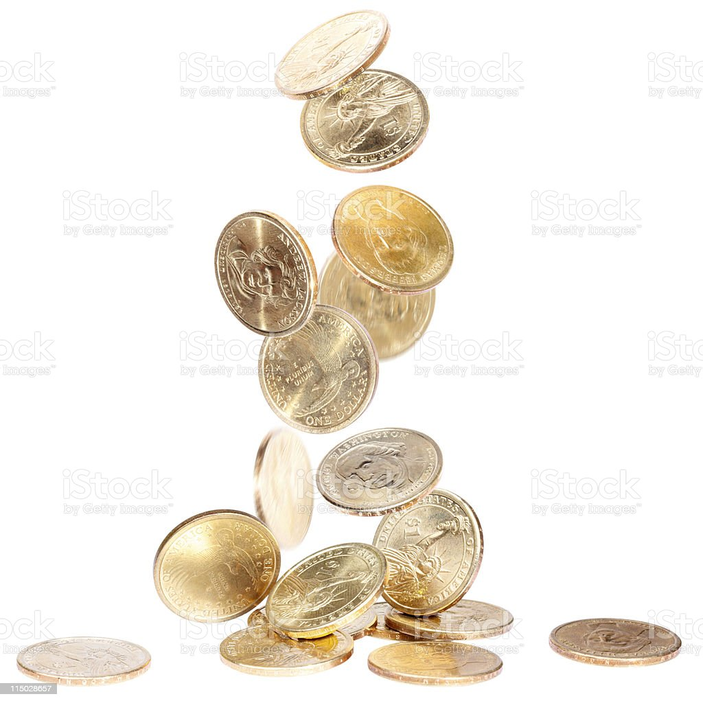 Falling American Dollar Coins royalty-free stock photo