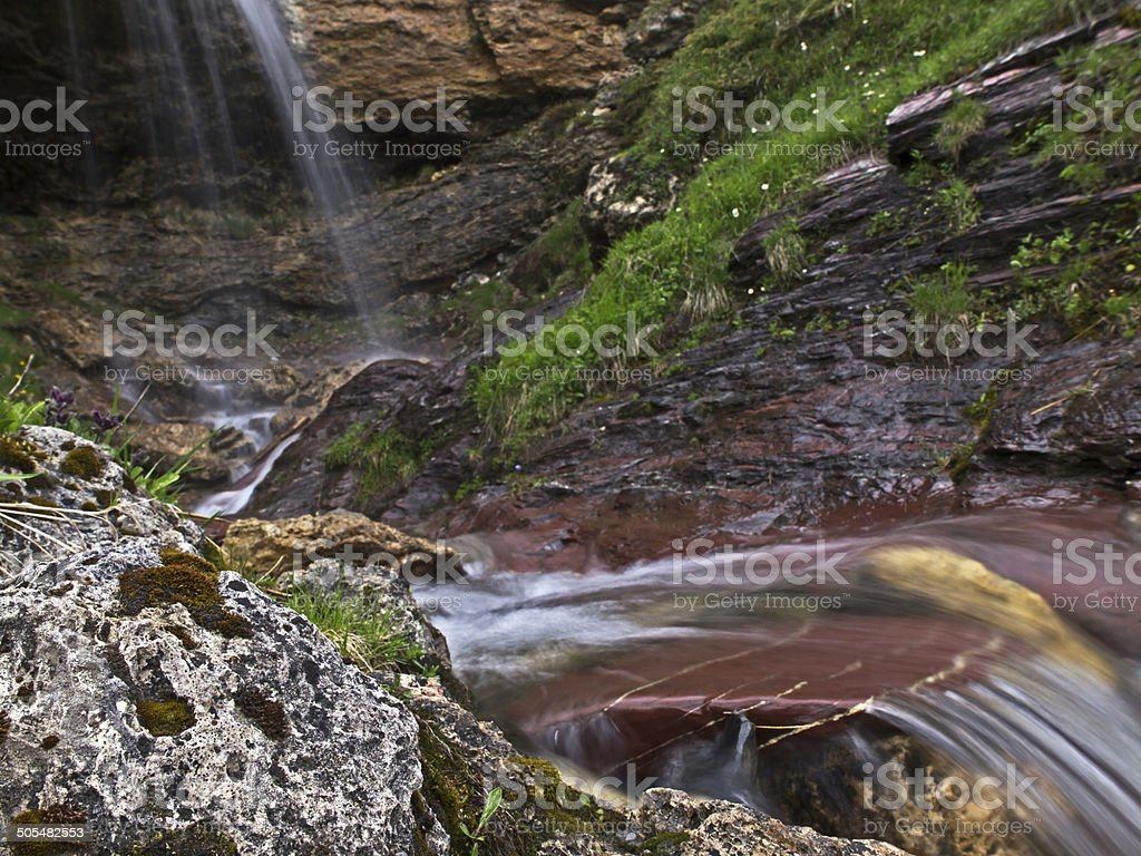 Falling and flowing water (Flumserberg/Switzerland) stock photo