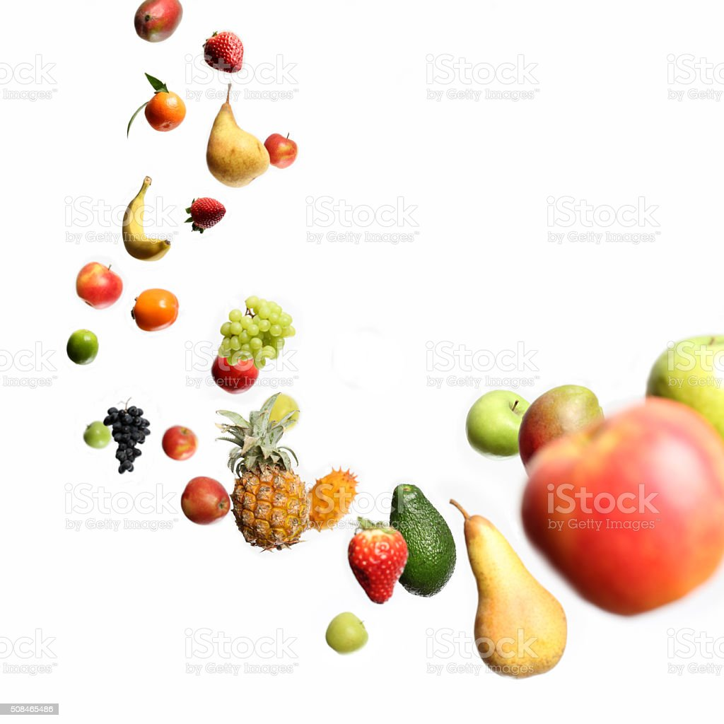 Falling and flying fruits stock photo