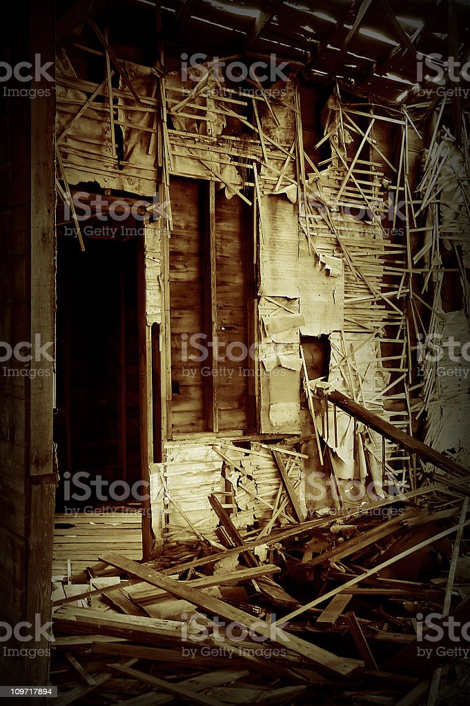 Falling Apart Walls of Broken and Abandoned House royalty-free stock photo