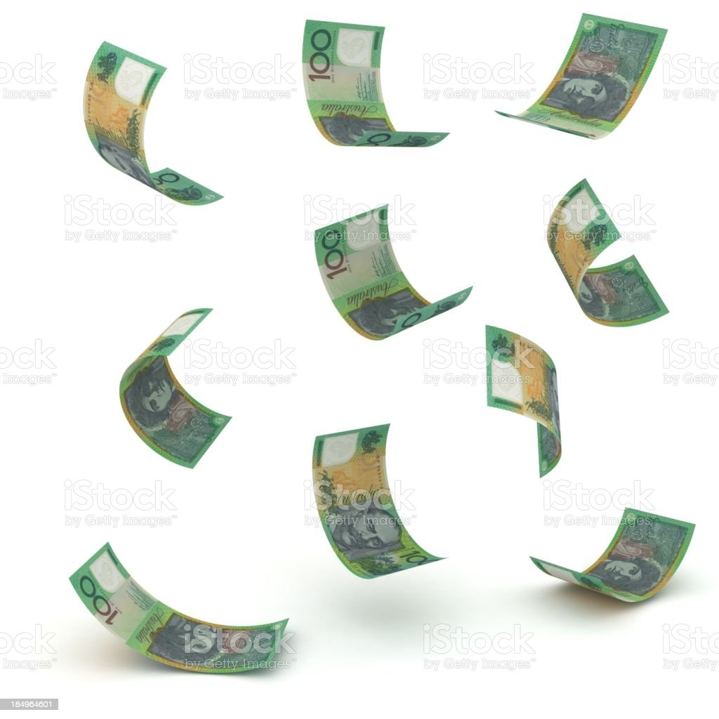 Falling Australian Dollars royalty-free stock photo
