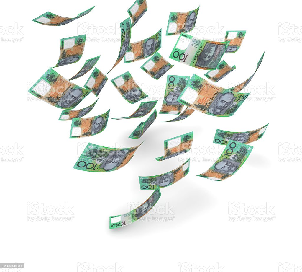 Falling Australian Dollars stock photo