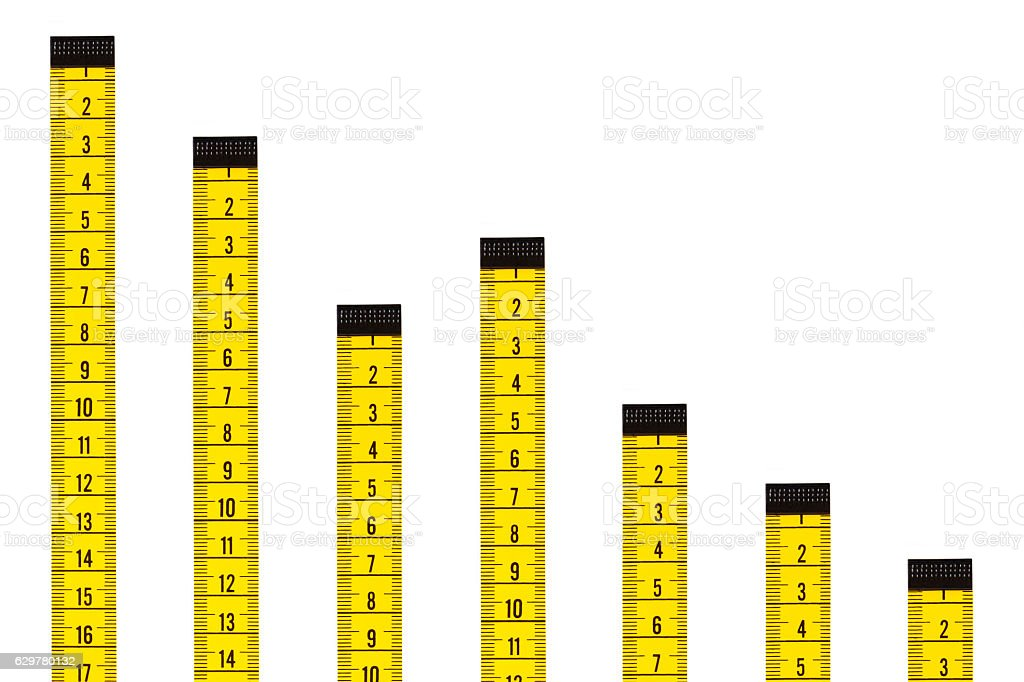 Falling Bar Graph with Tape Measures stock photo