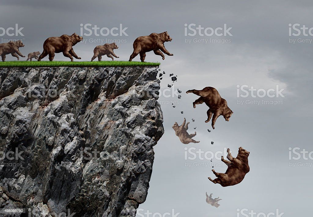 Falling Bear Market Crisis stock photo