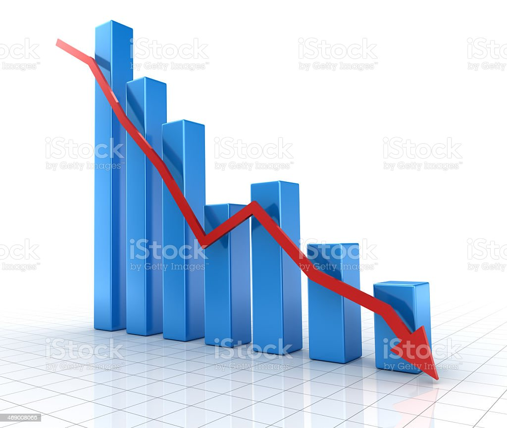 Falling blue chart with down red arrow stock photo