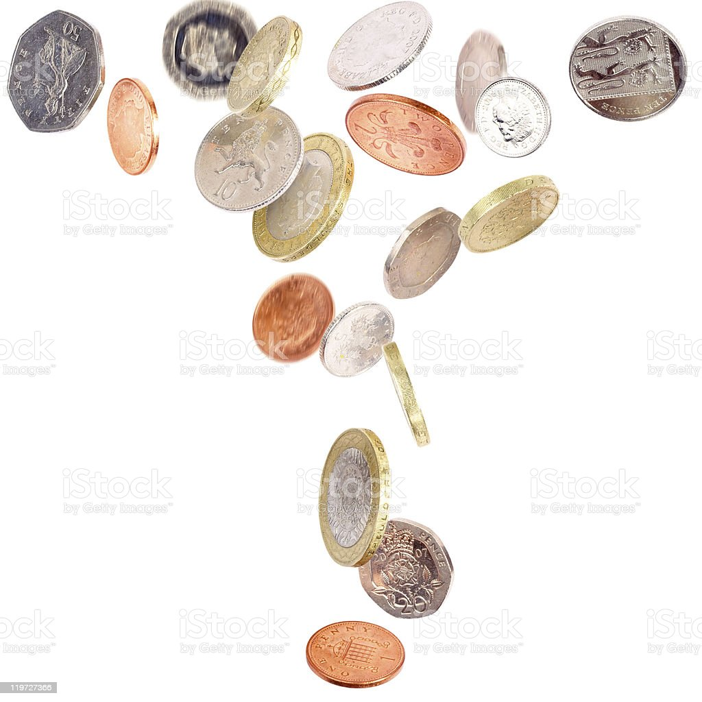 Falling British Coins royalty-free stock photo