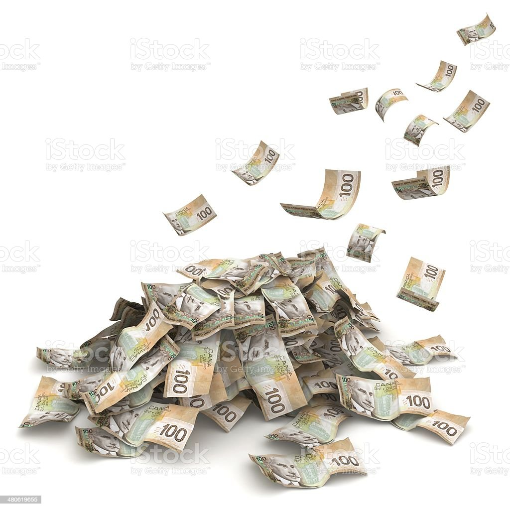 Falling Canadian Dollars stock photo