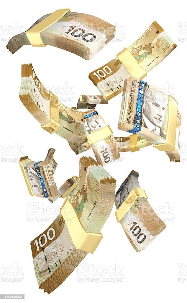 Falling Cash Canadian 3D (with clipping path) royalty-free stock photo
