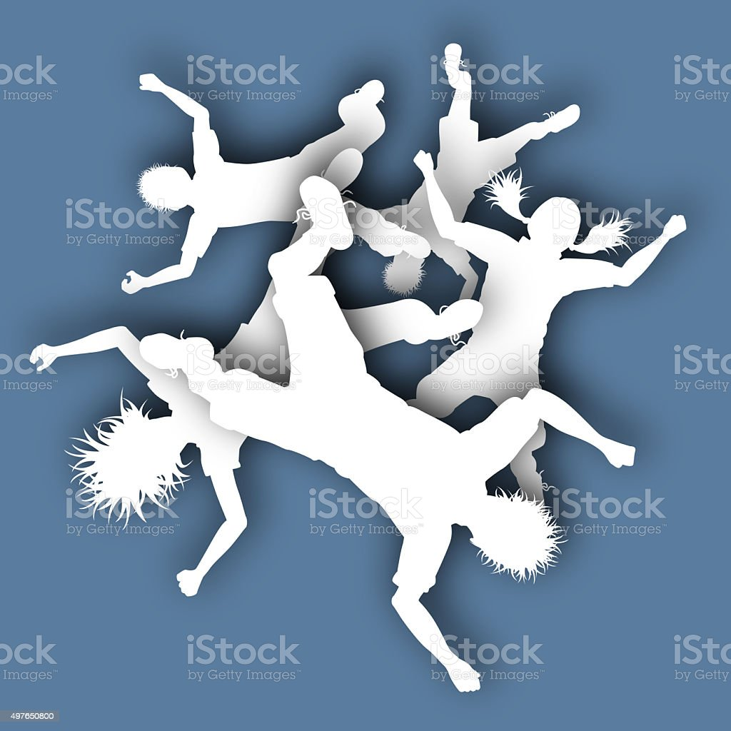 Falling children vector art illustration