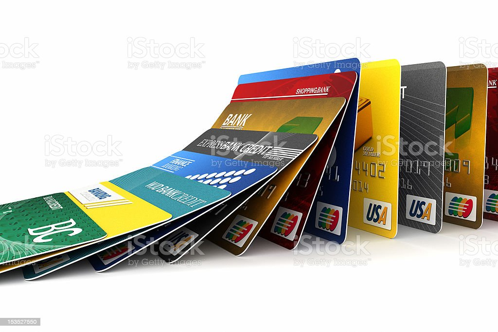 Falling credit cards royalty-free stock photo