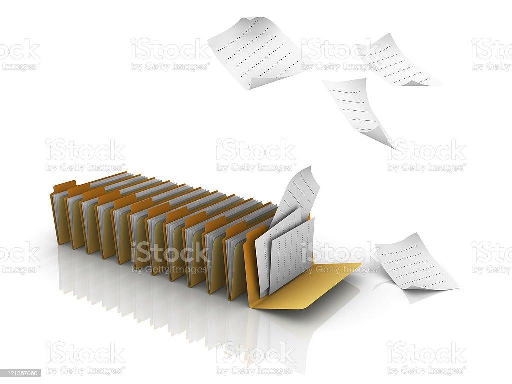 Falling Documents on Folders royalty-free stock photo