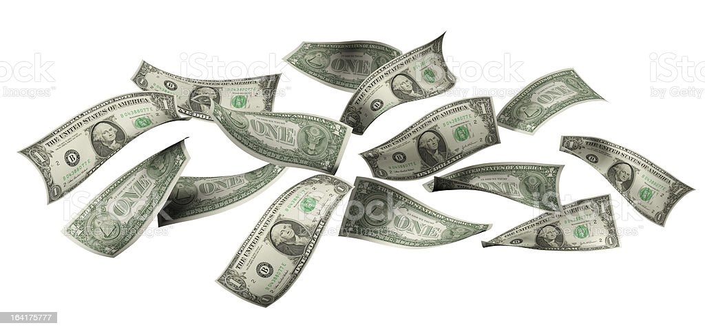 Falling Dollar Bills royalty-free stock photo