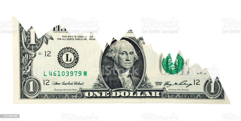 Falling Dollar Chart stock photo