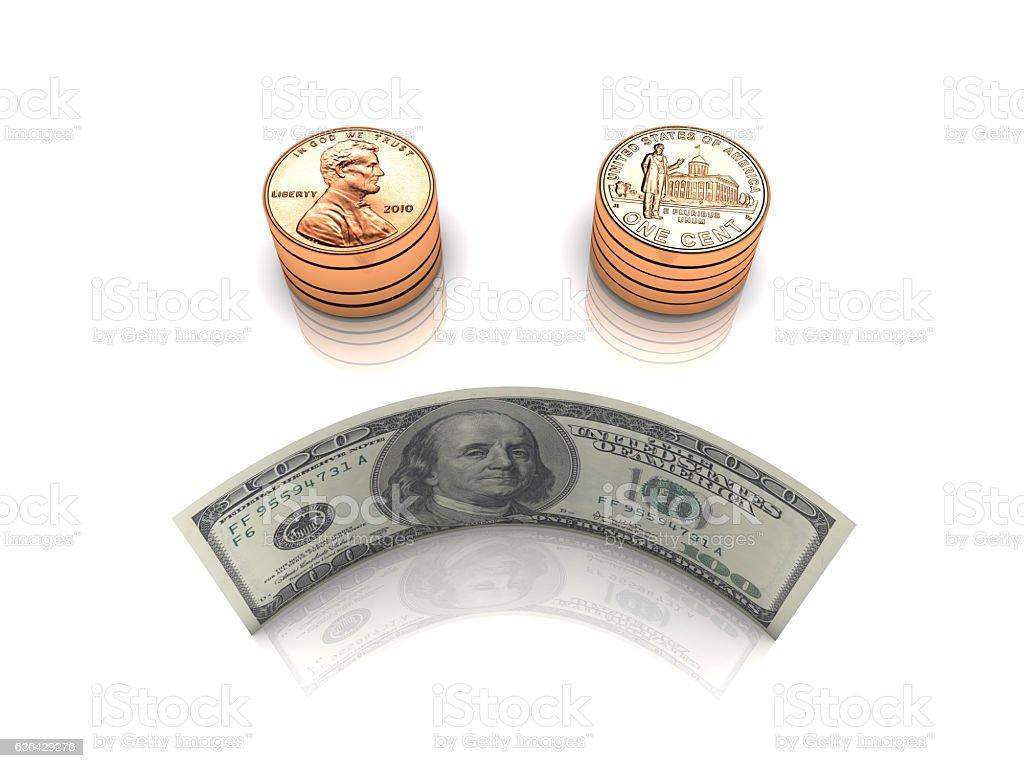 Falling Dollar Value stock photo