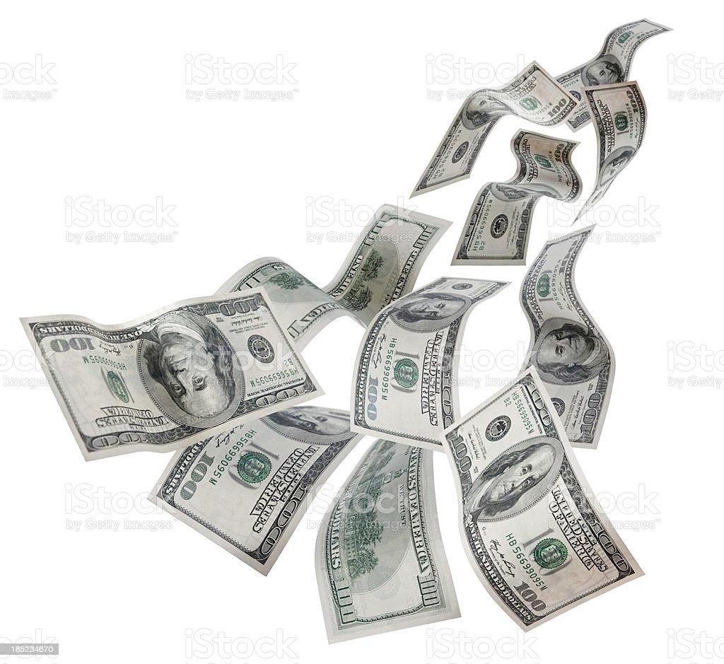 Falling Dollars $100 Bills stock photo