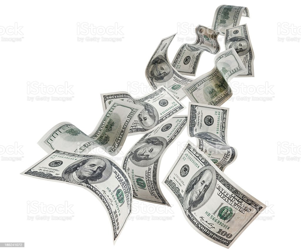 Falling Dollars $100 Bills royalty-free stock photo