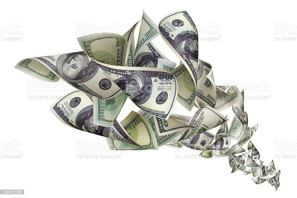 Falling dollars on white background stock photo