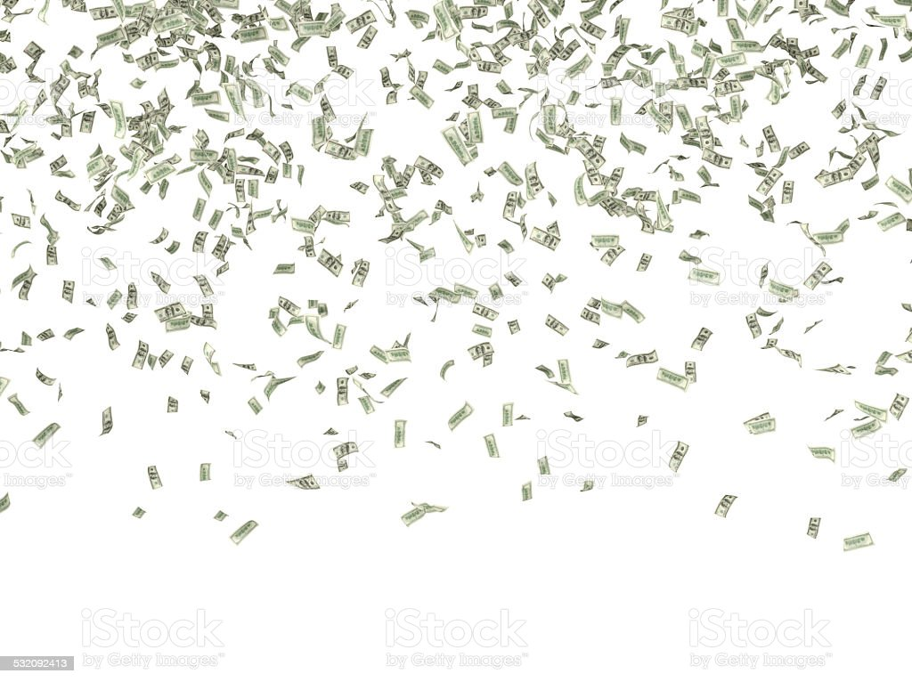 falling dollars stock photo