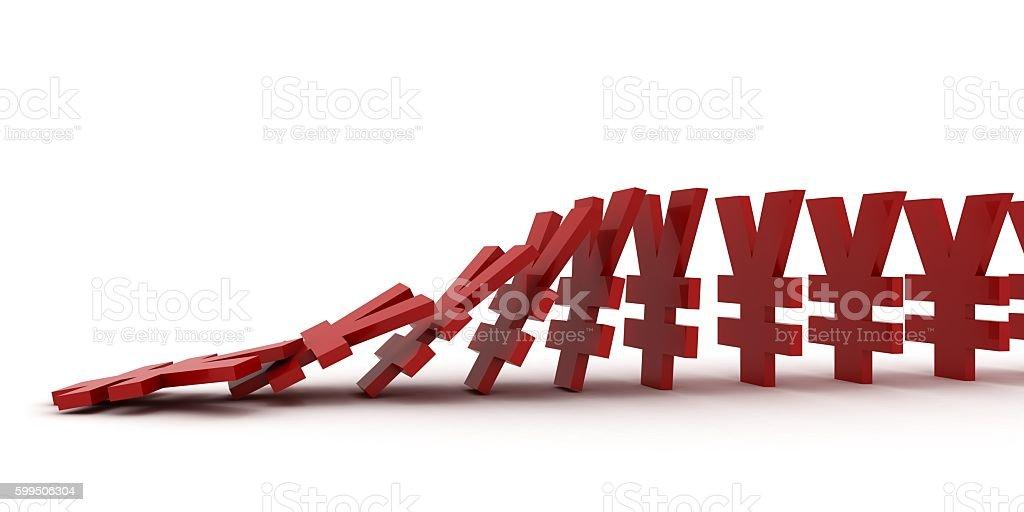Falling domino effect yen yuan symbols finance crisis concept stock photo