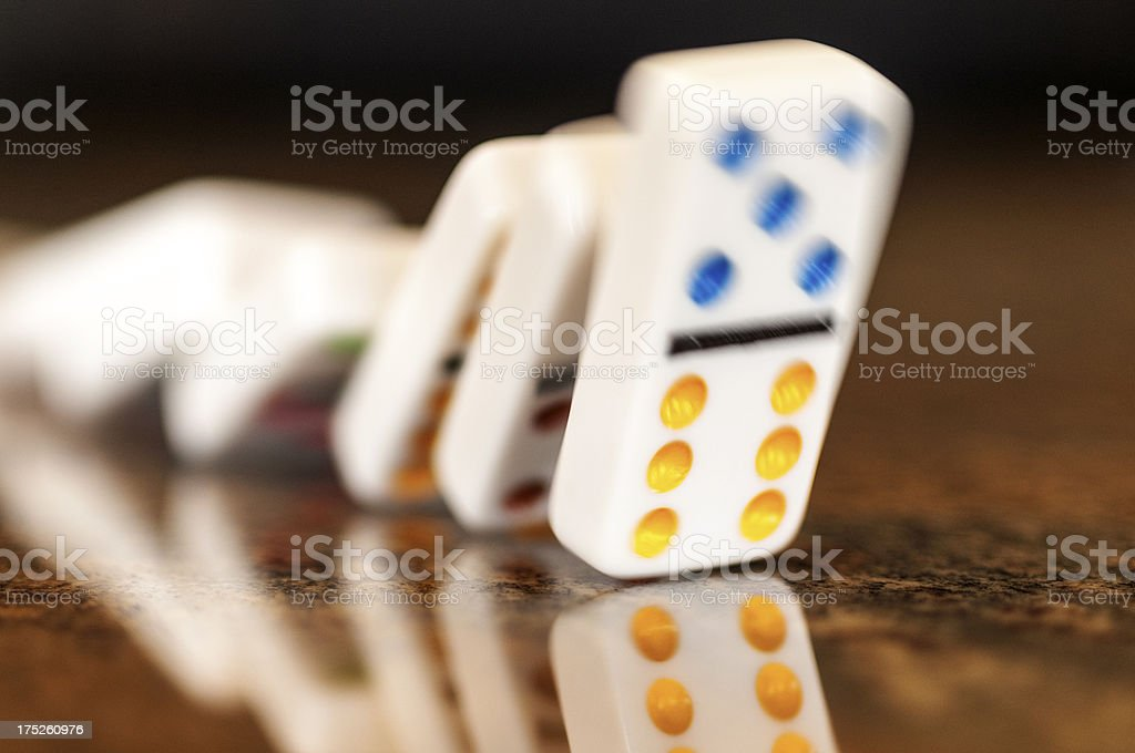 Falling Dominoes Motion Blurred royalty-free stock photo