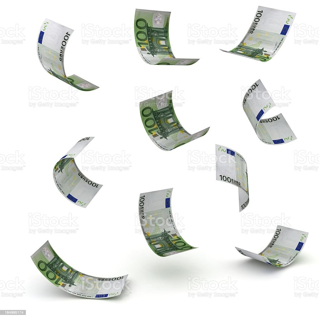 Falling Euro Banknotes stock photo