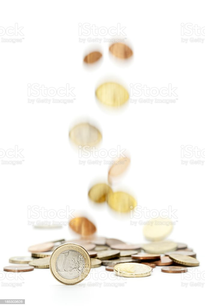Falling Euro Coins royalty-free stock photo