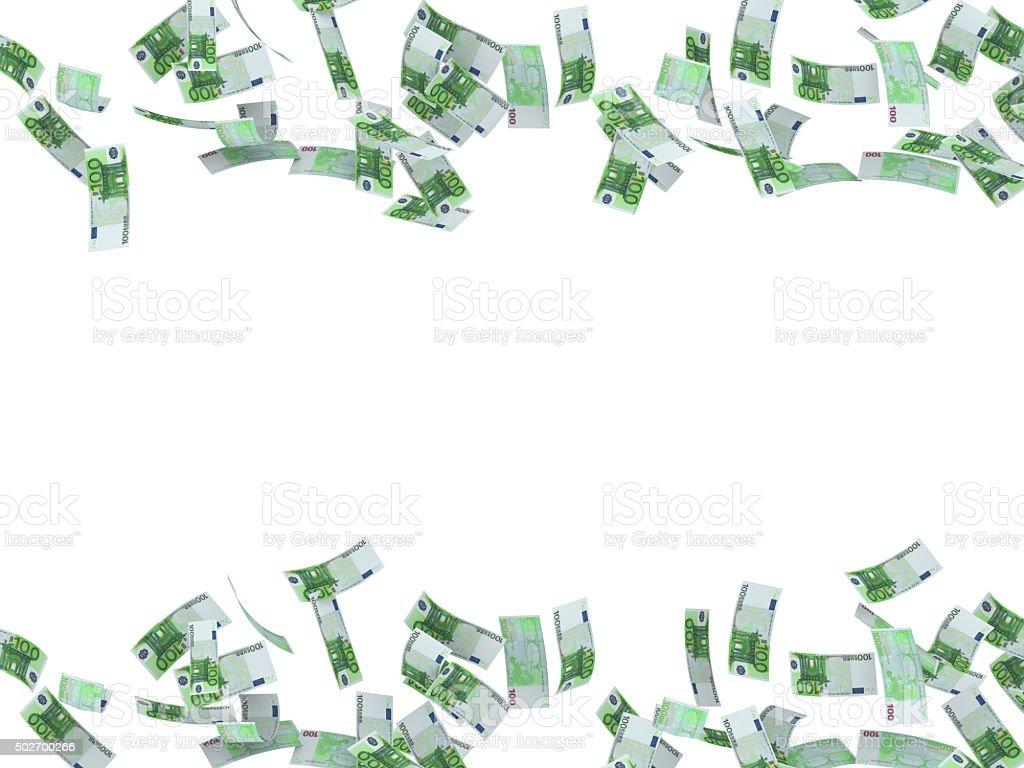 Falling euros on white background stock photo