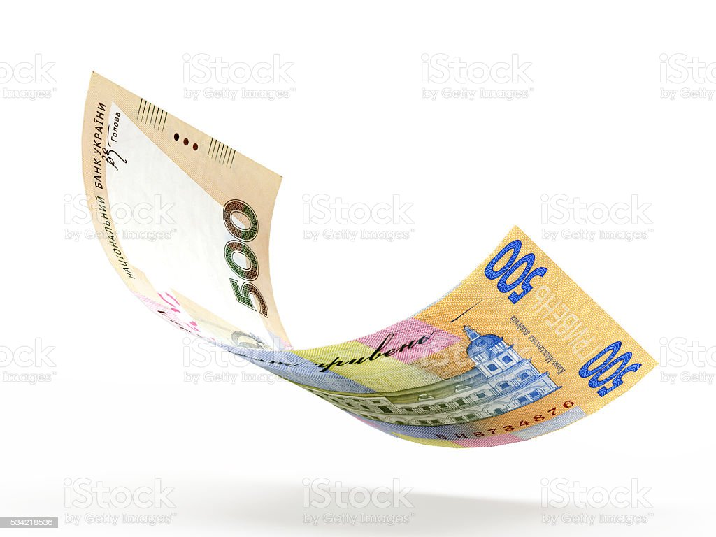 Falling five hundred hryvnia bank note stock photo