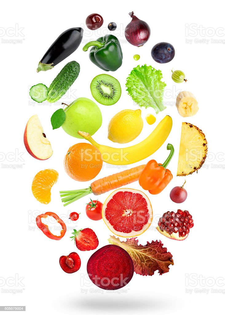 Falling fresh color fruits and vegetables stock photo
