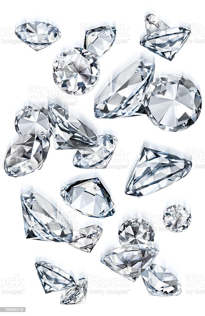 Falling Gems or Diamonds of Various Sizes in Motion Isolated stock photo