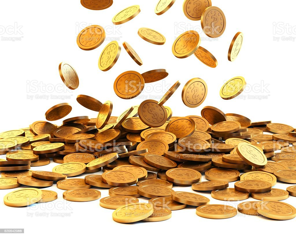 Falling gold coins on white background stock photo
