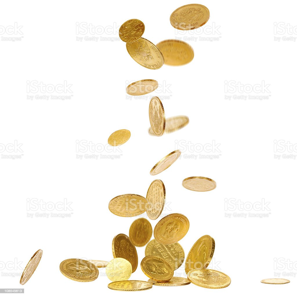 Falling Gold Coins stock photo