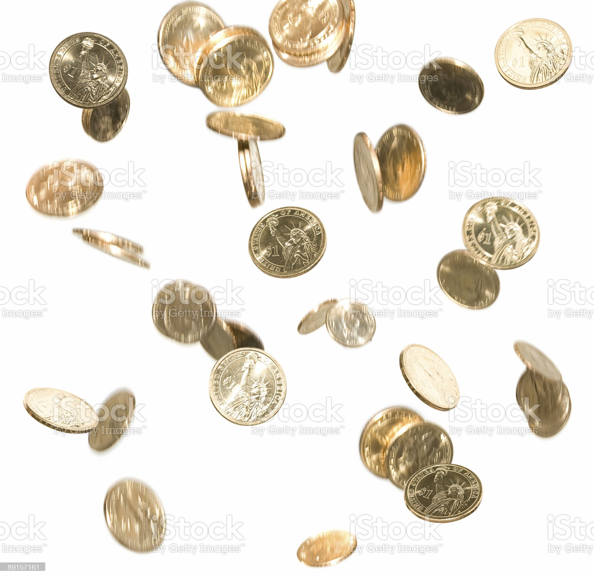 Falling Gold Dollar Coins Money in Motion Isolated on White royalty-free stock photo