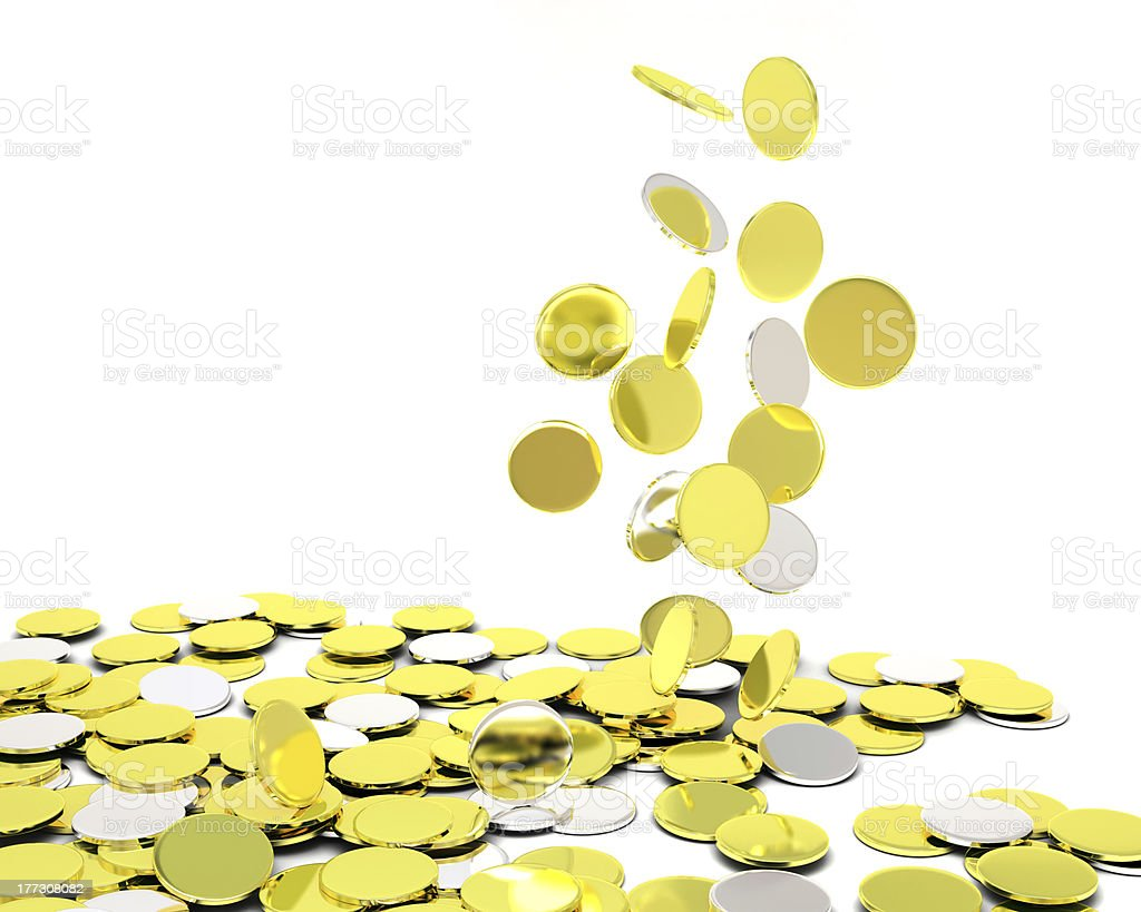 falling gold silver coins stock photo