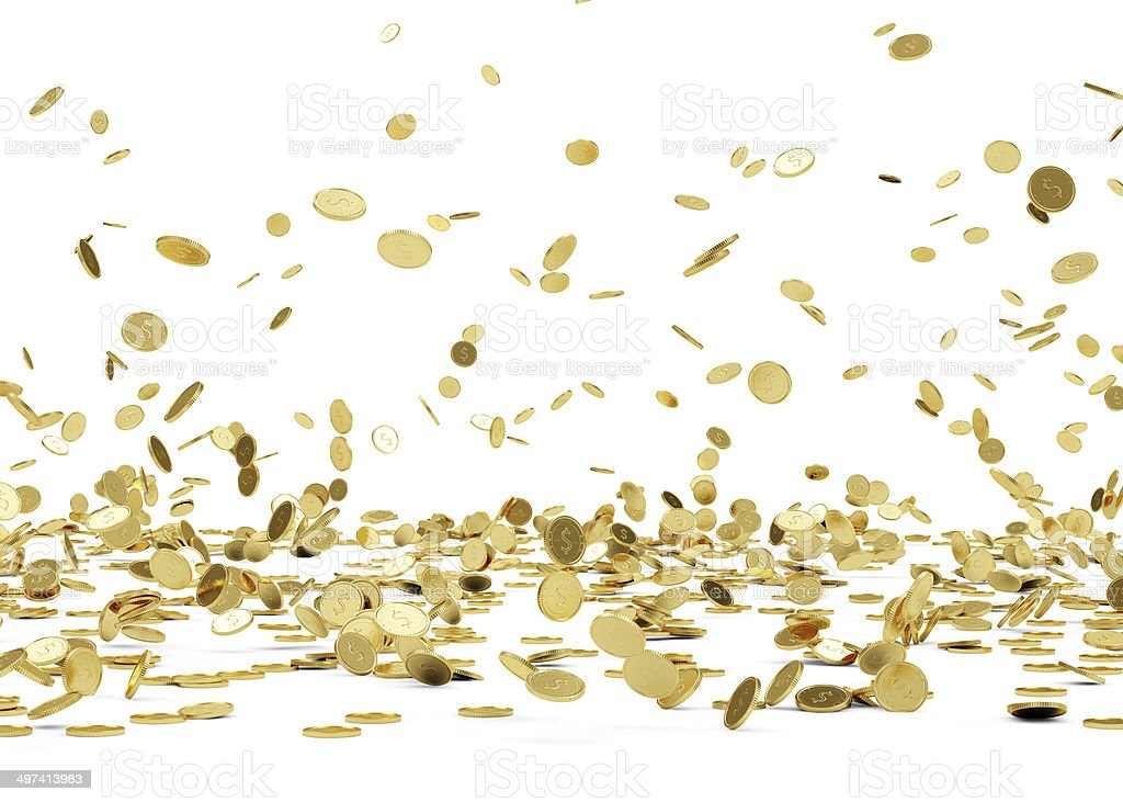Falling Golden Coins stock photo
