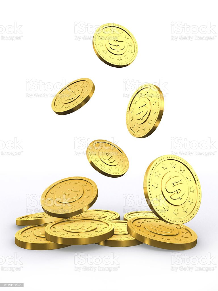Falling golden coins. stock photo