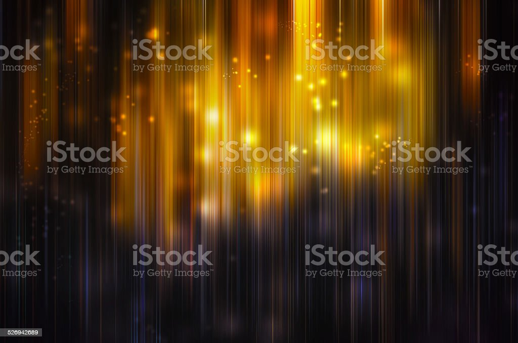 Falling golden sparkles and lights stock photo