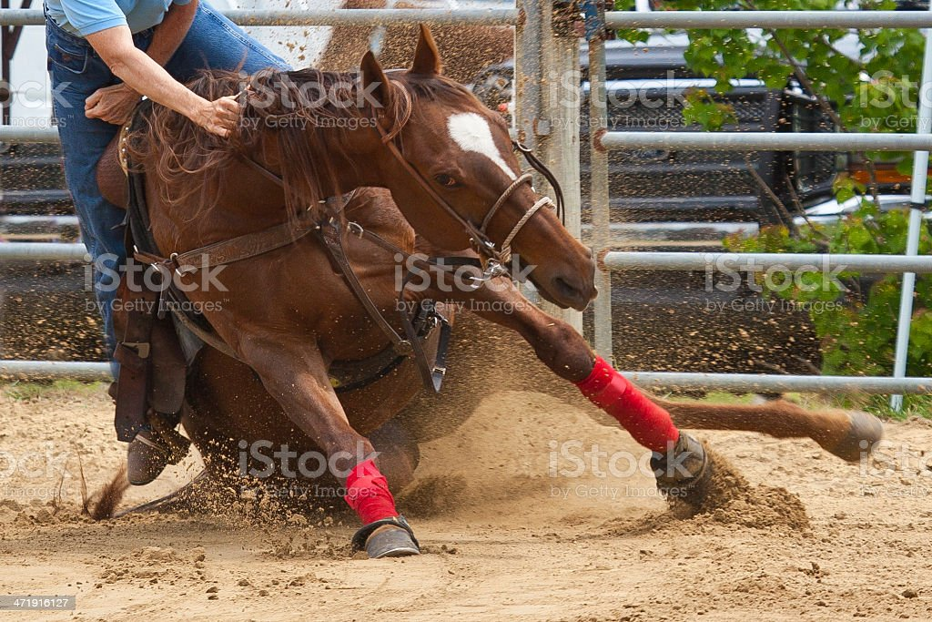 Falling Horse and Rider stock photo